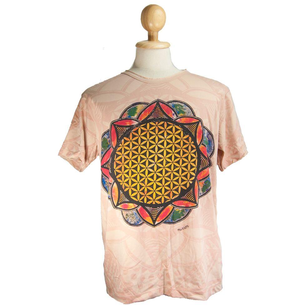 Tričko značky Mirror - Flower of Life Beige