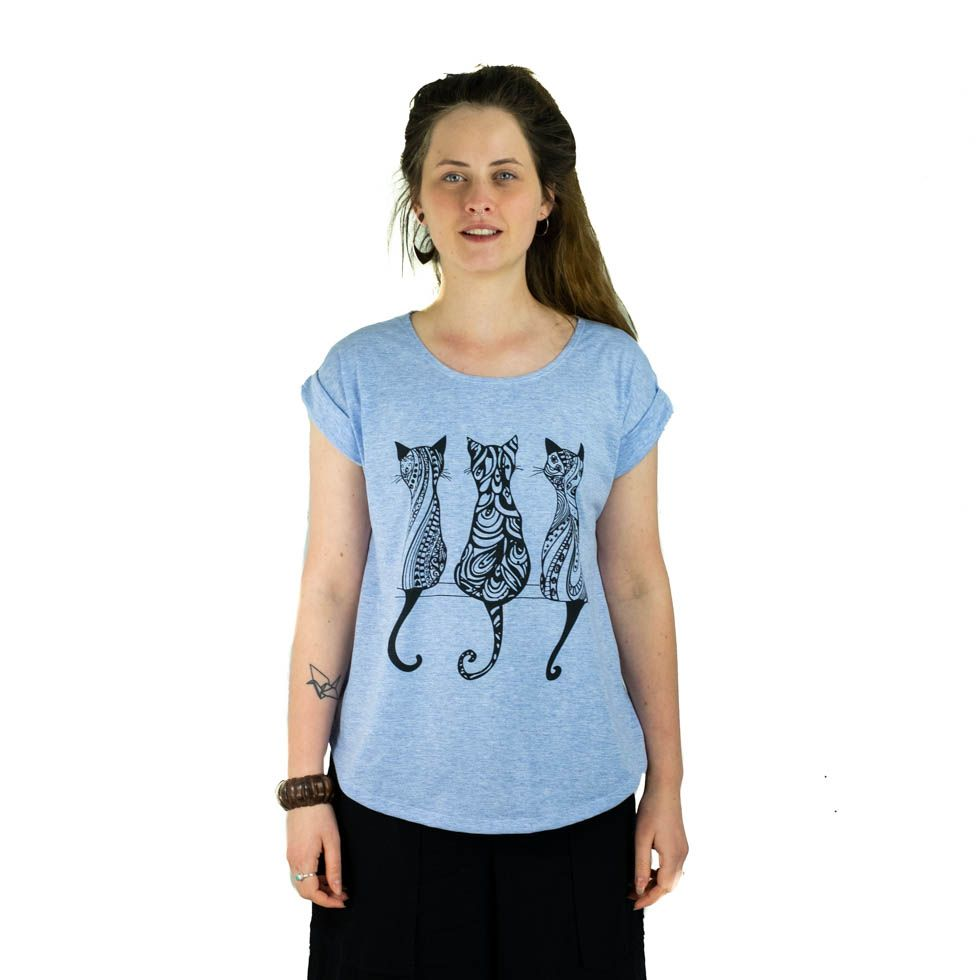 Dámské tričko s krátkým rukávem Darika Cats Bluish