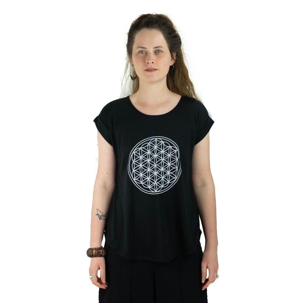 Dámské tričko s krátkým rukávem Darika Flower of Life Black