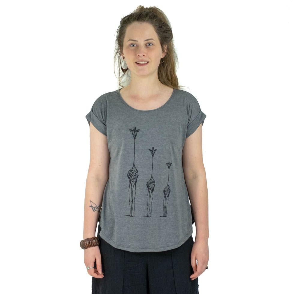 Dámské tričko s krátkým rukávem Darika Giraffe Family Grey