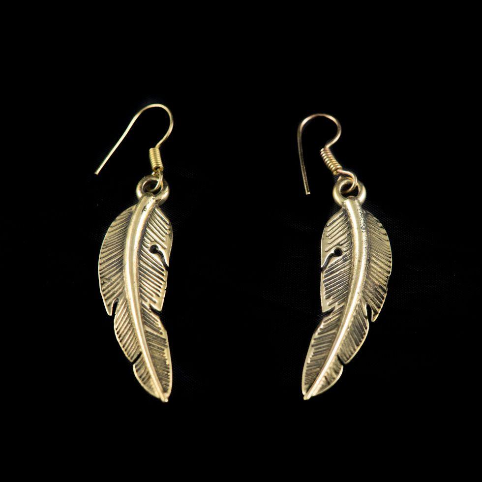Mosazné náušnice Feather India