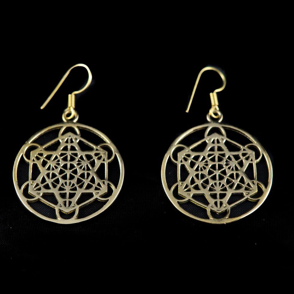 Mosazné náušnice Hexagram Geometry India