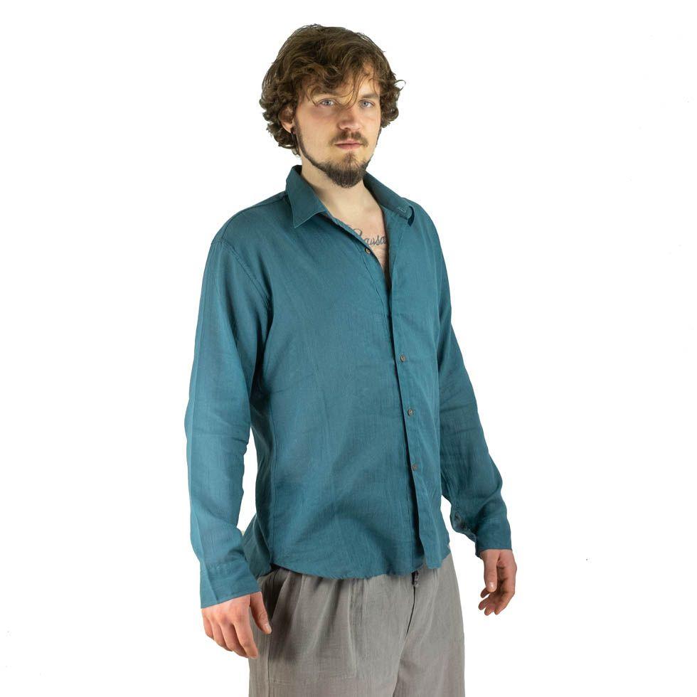 Pánská košile s dlouhým rukávem Tombol Teal Blue Thailand