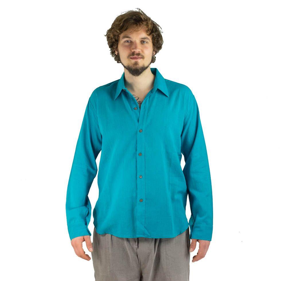 Pánská košile s dlouhým rukávem Tombol Turquoise