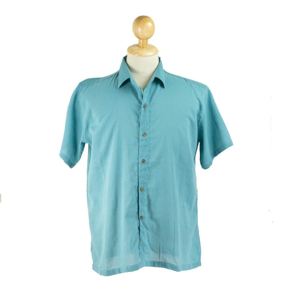 Pánská košile s krátkým rukávem Jujur Teal Blue