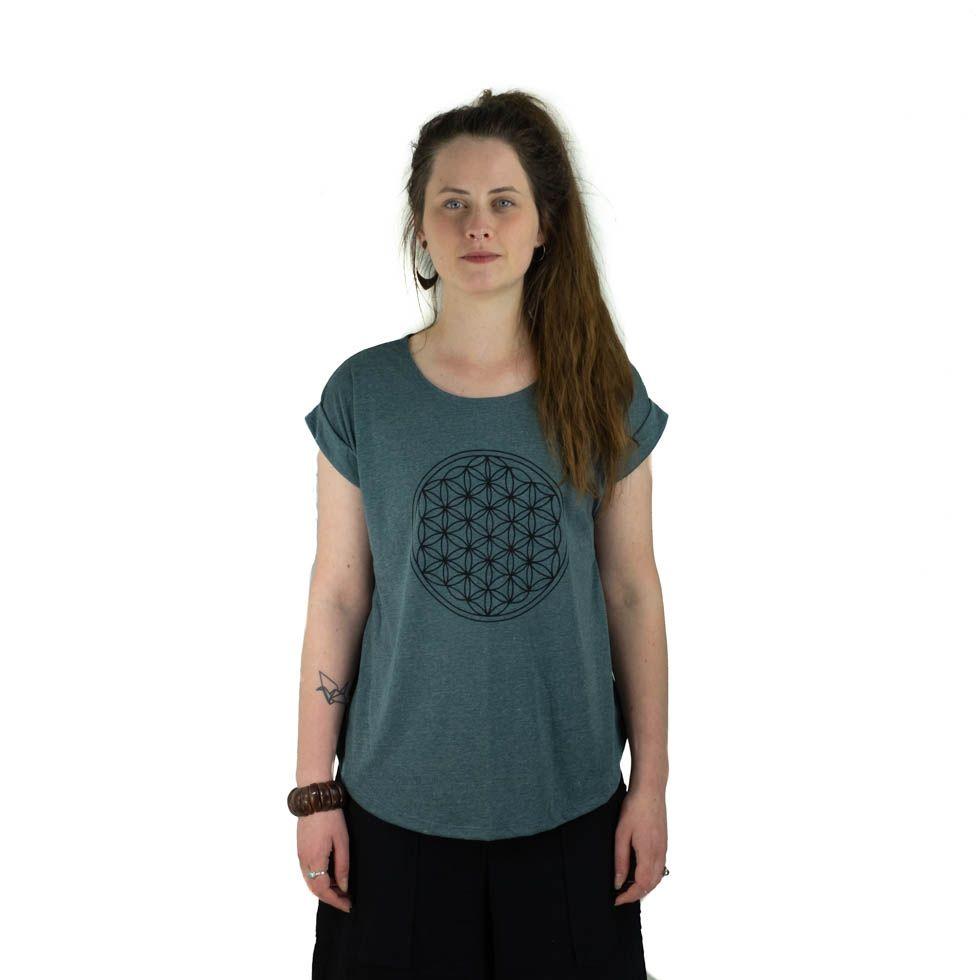 Dámské tričko s krátkým rukávem Darika Flower of Life Dark Green