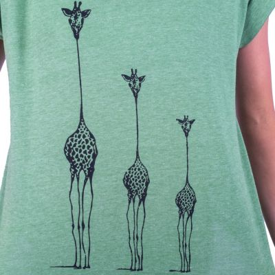 Dámské tričko s krátkým rukávem Darika Giraffe Family Green
