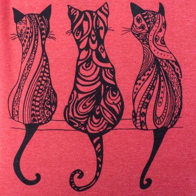 Dámské tričko s krátkým rukávem Darika Cats Red