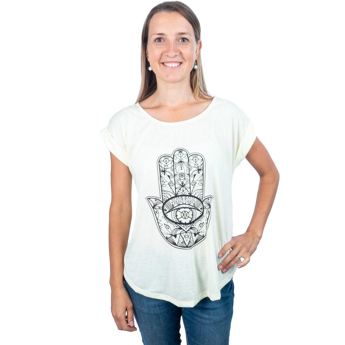 Dámské tričko s krátkým rukávem Darika Hamsa Yellow