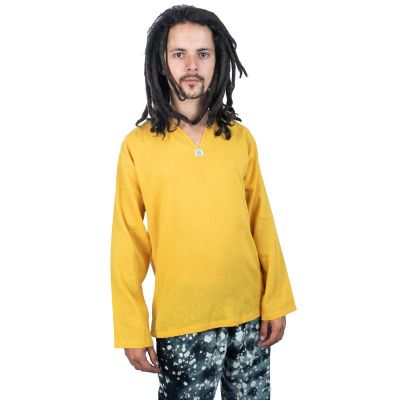 Kurta Abiral Mustard - pánská košile s dlouhým rukávem