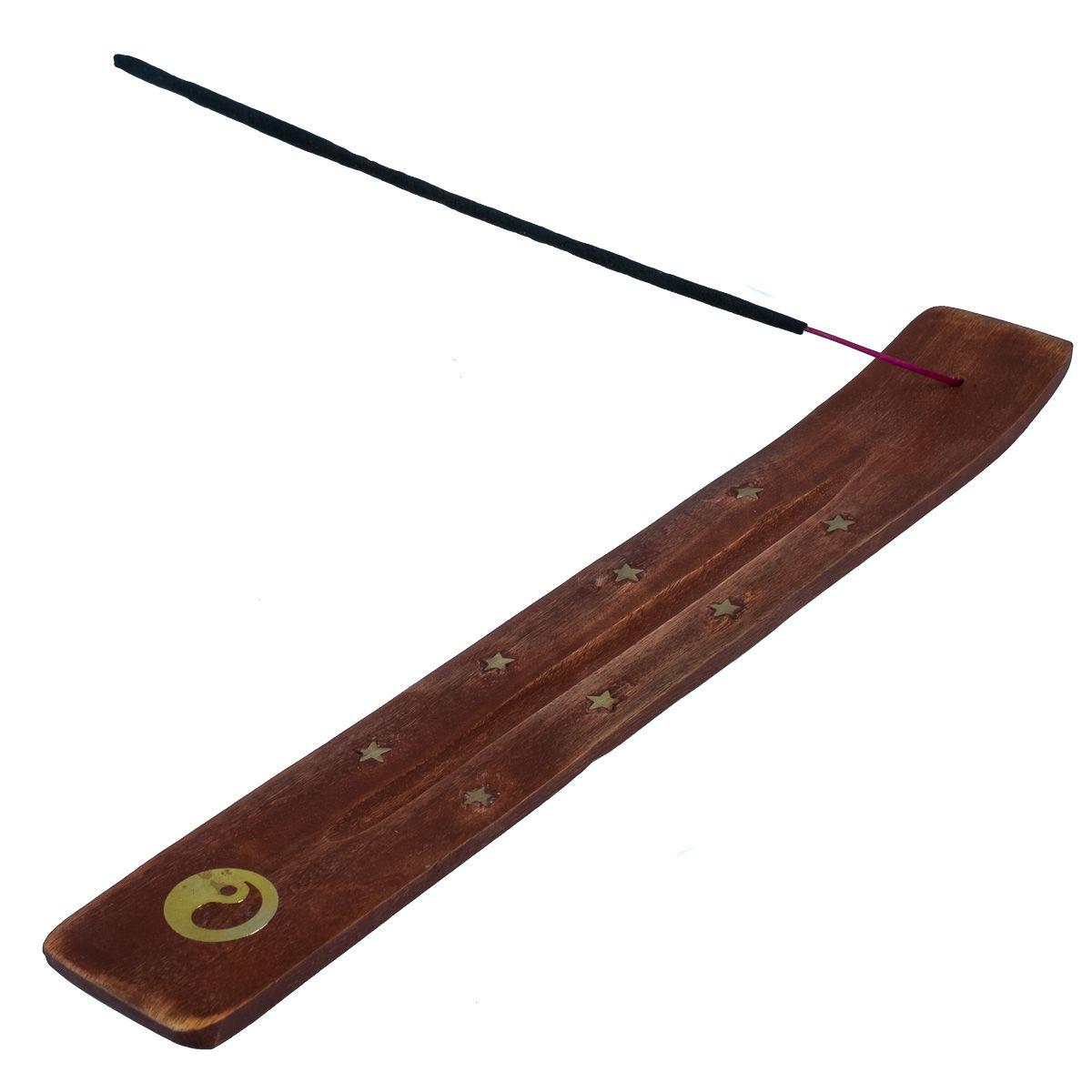 Dřevěný stojánek na vonné tyčinky Yin&Yang - hnědý