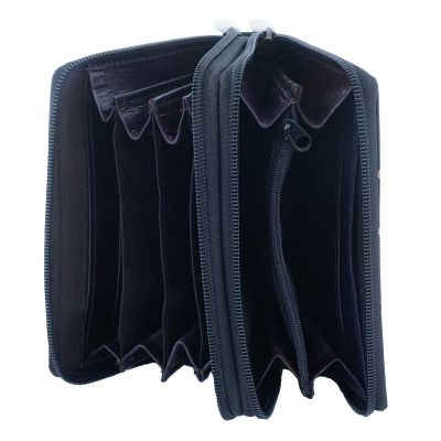 Kožená peněženka Kočičí pár - černá