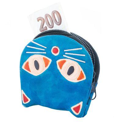 Kožená peněženka Kočička - modrá