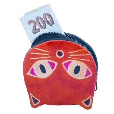 Kožená peněženka Kočička - oranžová