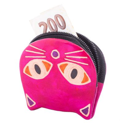 Kožená peněženka Kočička - růžová