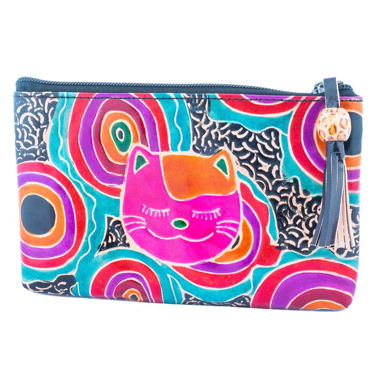 Kožená peněženka Kočka - černá