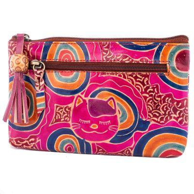 Kožená peněženka Kočka - fialová