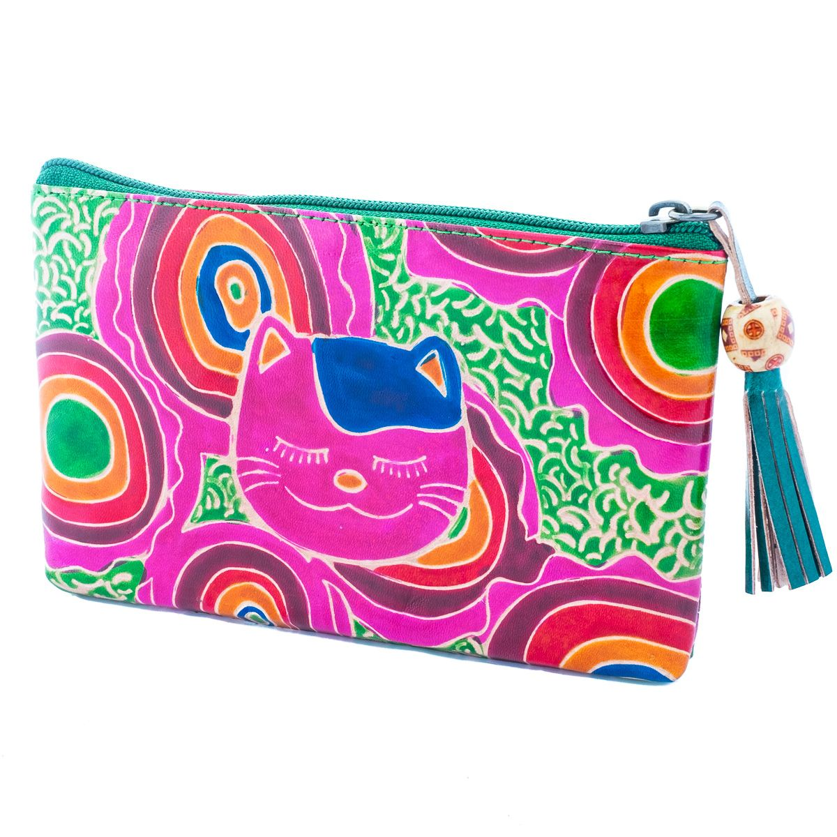 Kožená peněženka Kočka - zelená