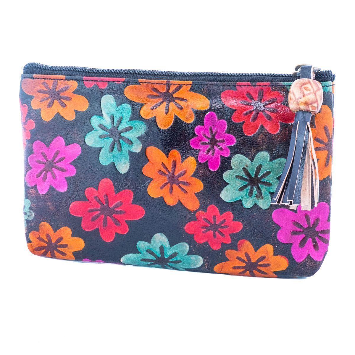 Kožená peněženka Květy - černá