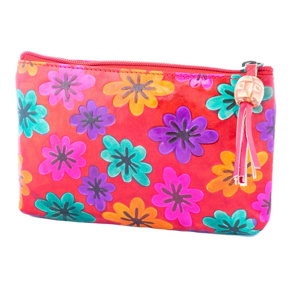 Kožená peněženka Květy - červená