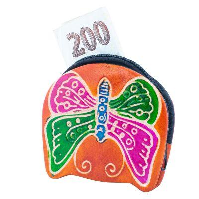 Kožená peněženka Motýlek - oranžová