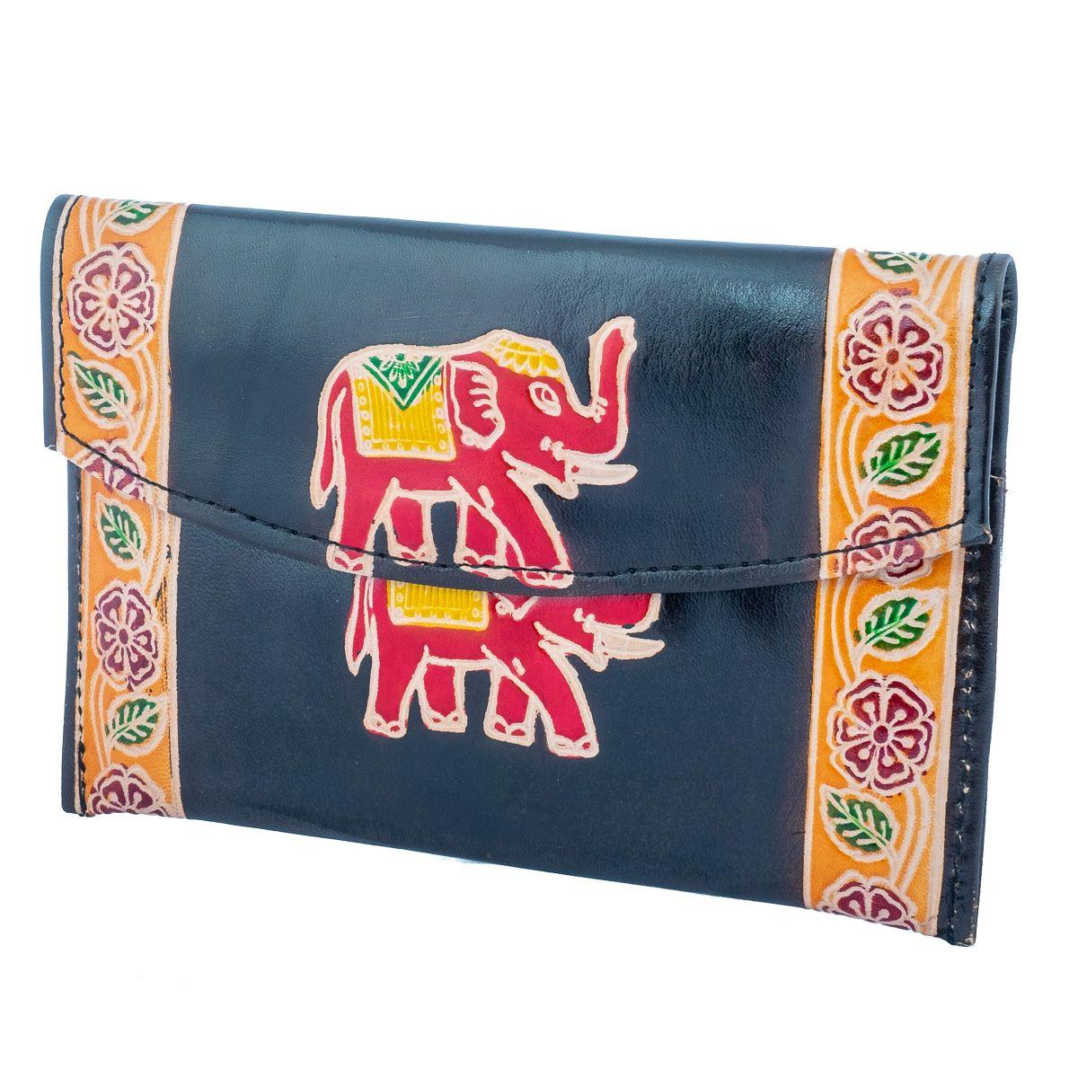 Kožená peněženka Slon 3v1 - černá