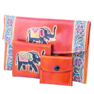 Kožená peněženka Slon 3v1 - oranžová