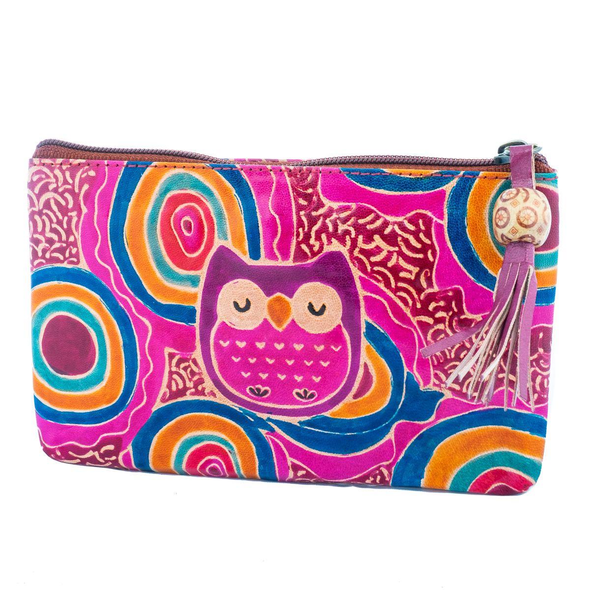 Kožená peněženka Sova - fialová