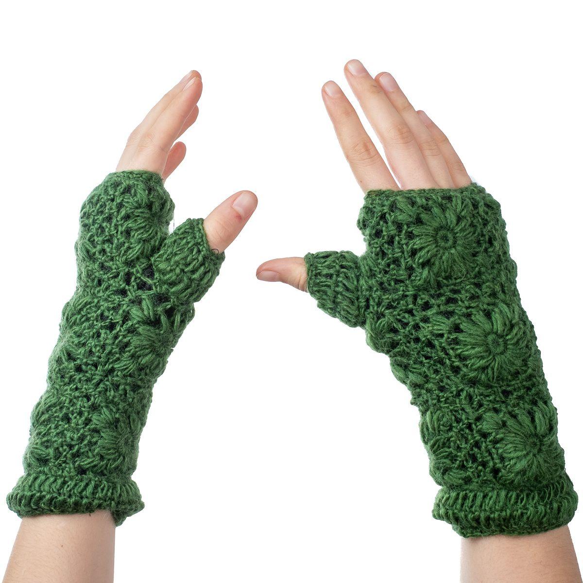 Vlněné návleky na ruce Bardia Forest Green