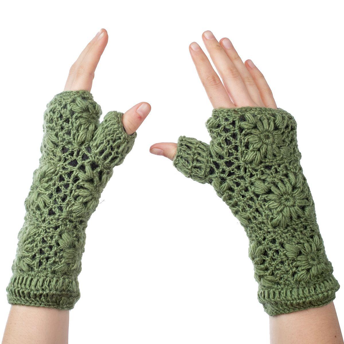 Vlněné návleky na ruce Bardia Light Green
