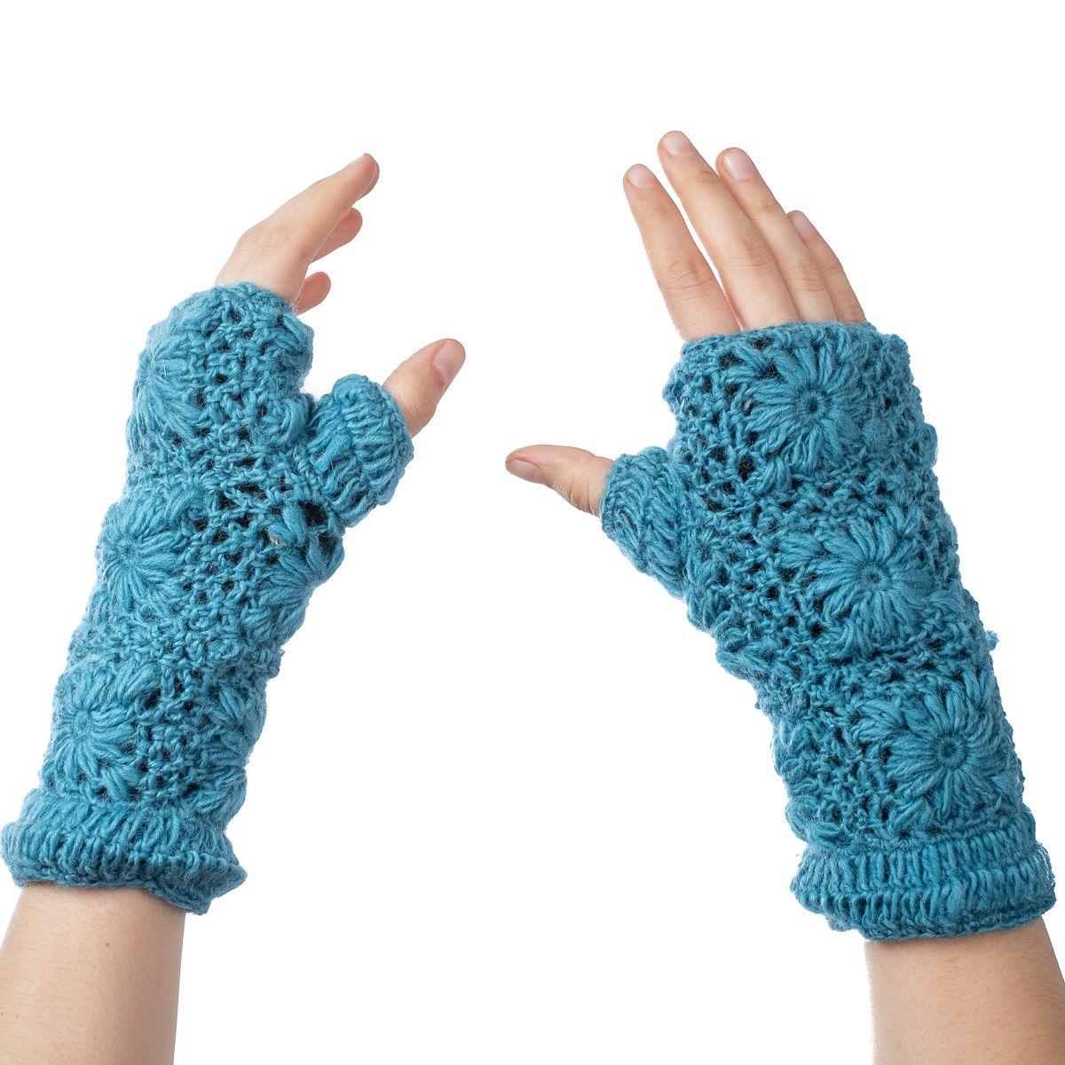 Vlněné návleky na ruce Bardia Petrol Blue