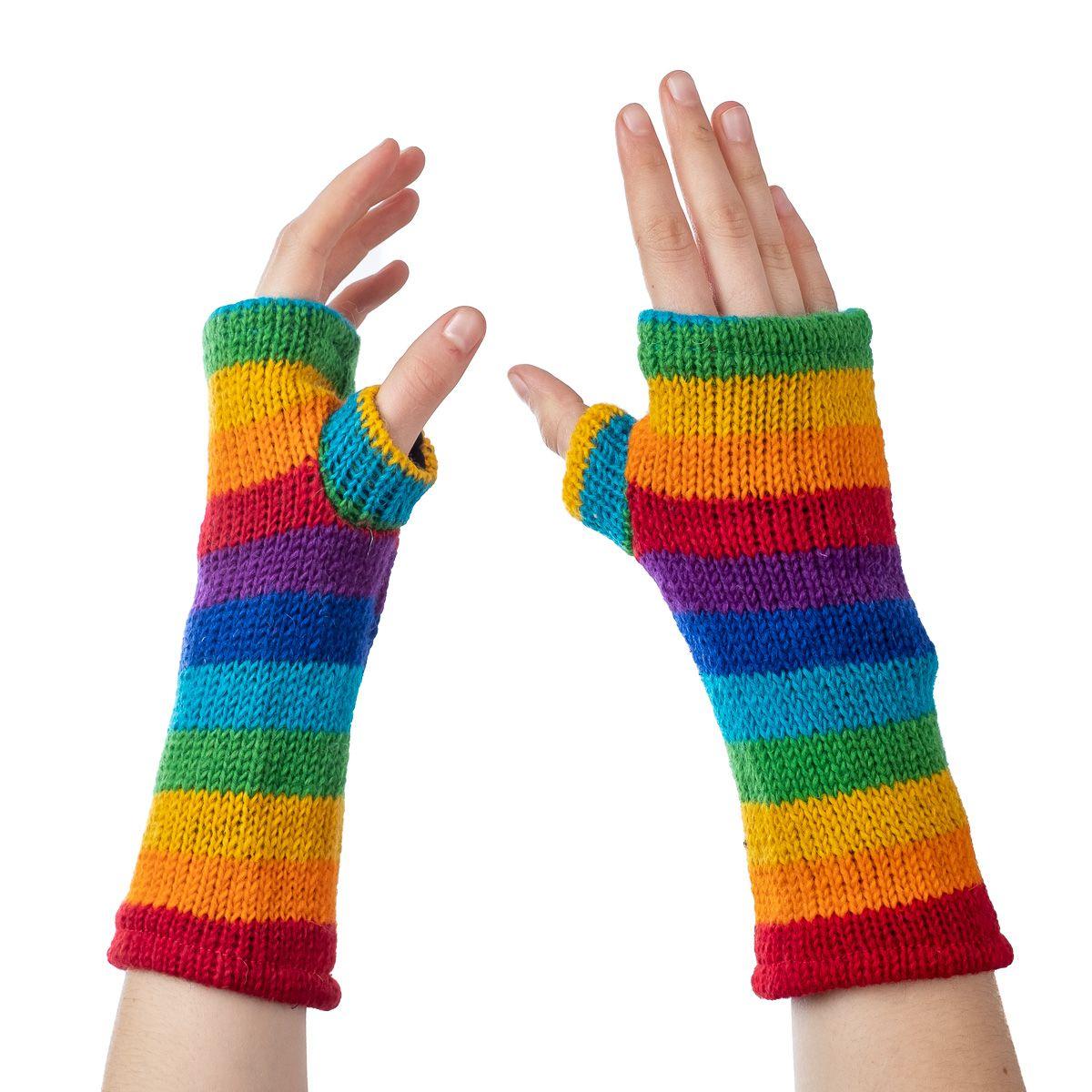 Vlněné návleky na ruce Lopika Rainbow
