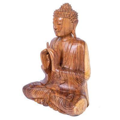 Vyřezávaná dřevěná soška Sedící Buddha