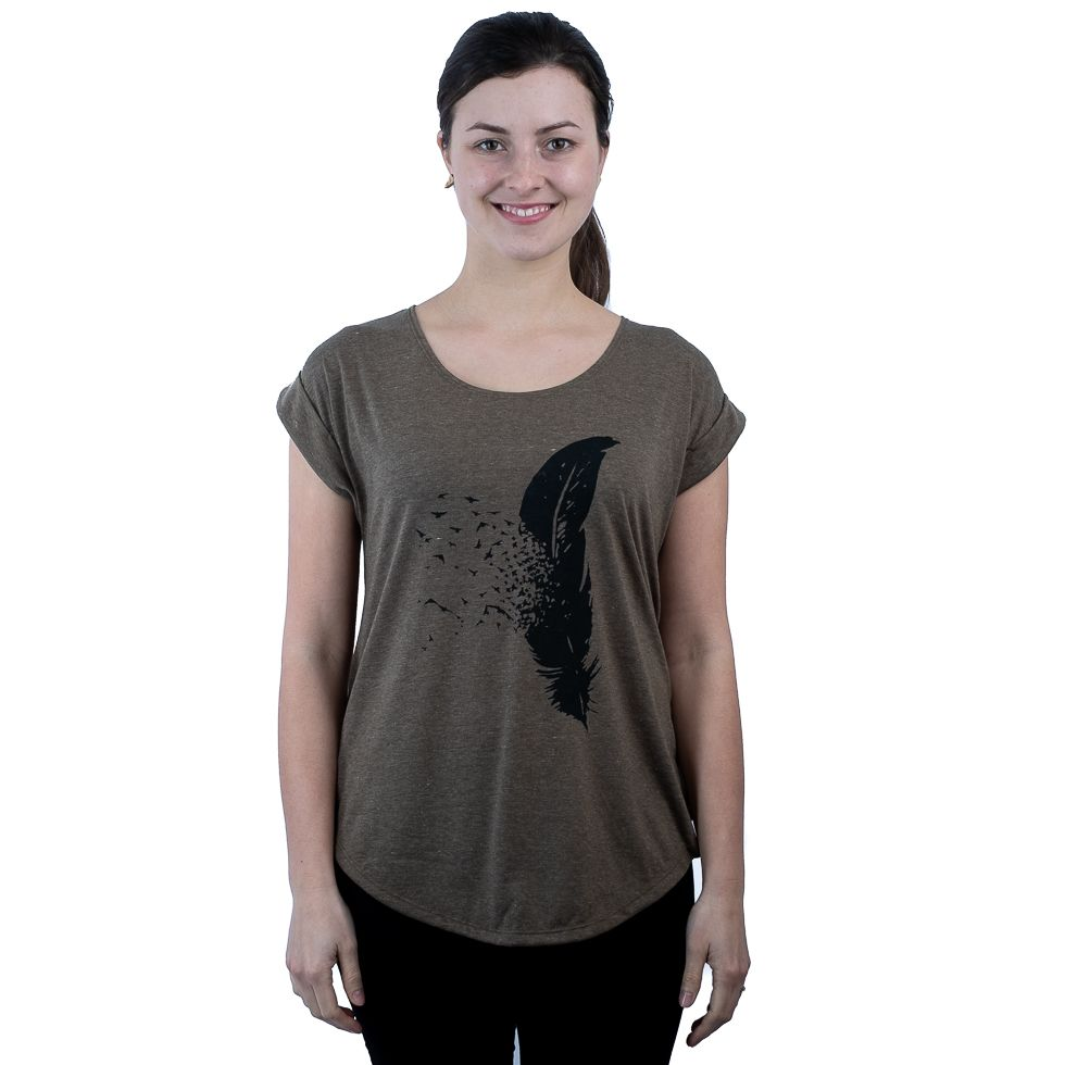 Dámské tričko s krátkým rukávem Darika Feather Khaki