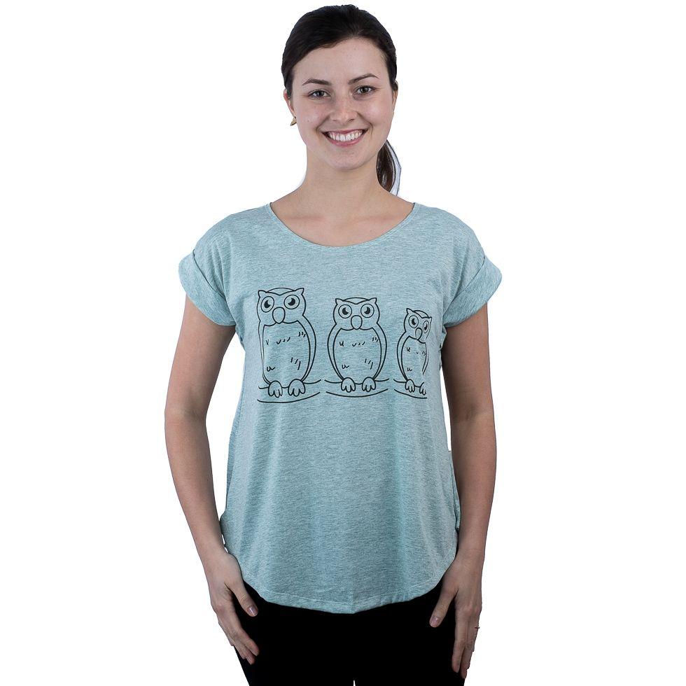 Dámské tričko s krátkým rukávem Darika Owl Family Greenish
