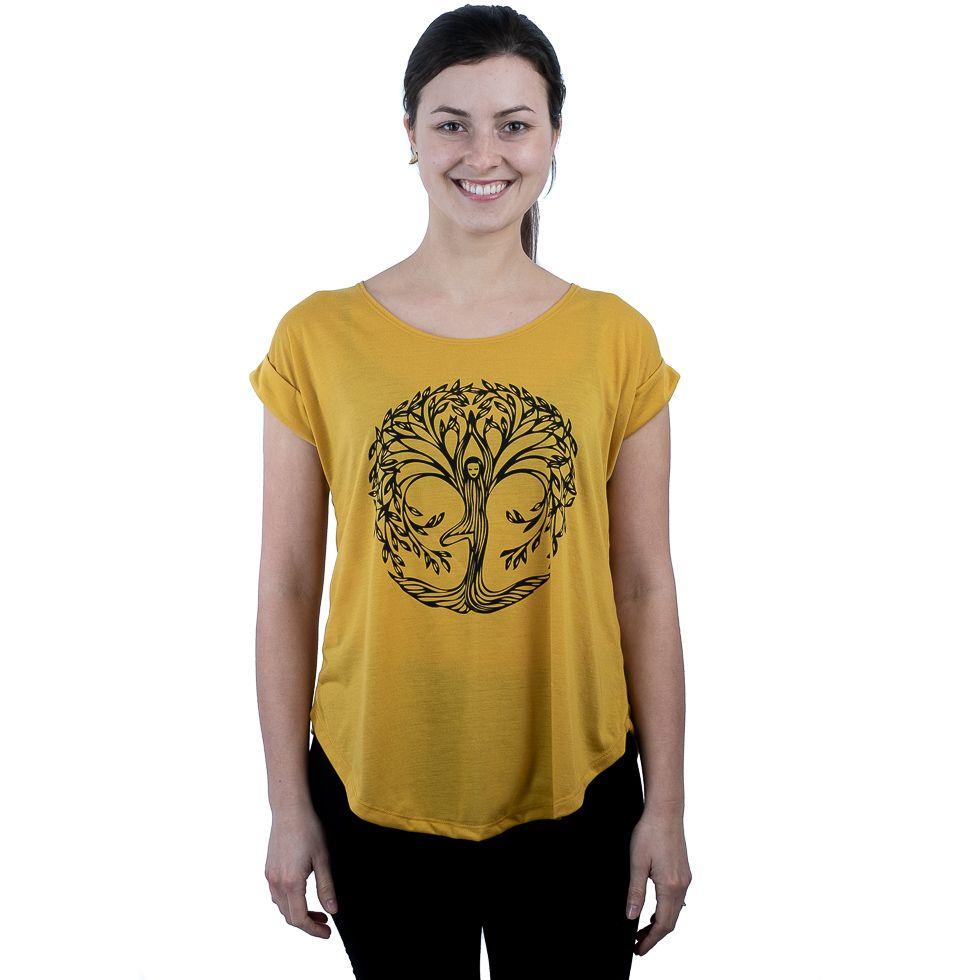 Dámské tričko s krátkým rukávem Darika Yoga Tree Yellow