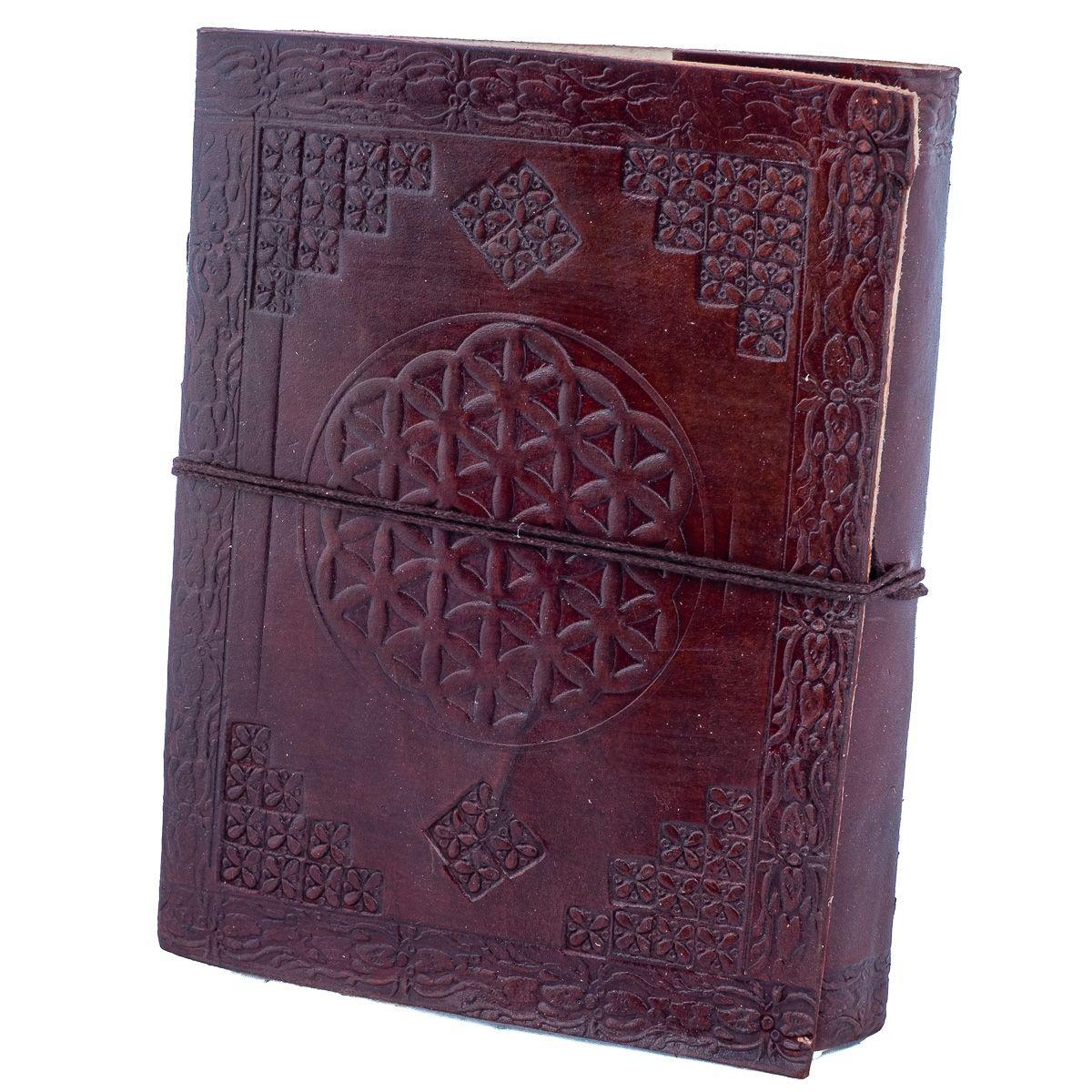 Kožený zápisník Květ života India