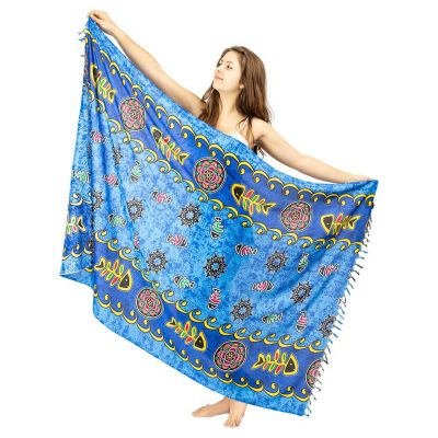 Sarong Fishbone modrý