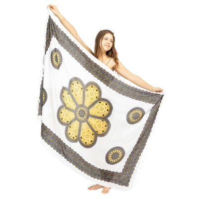 Sarong Květinová mandala bílo-žlutý