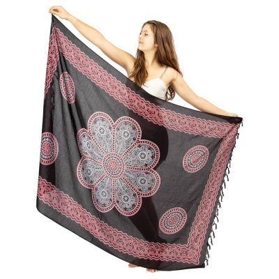Sarong Květinová mandala černý