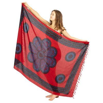Sarong Květinová mandala červený