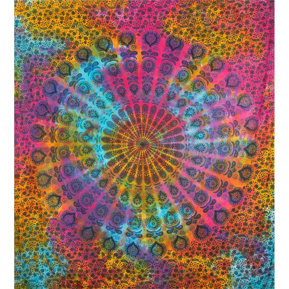 Bavlněný přehoz na postel Barevná meditace India