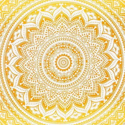 Bavlněný přehoz na postel Mandala – béžovo-žlutý India