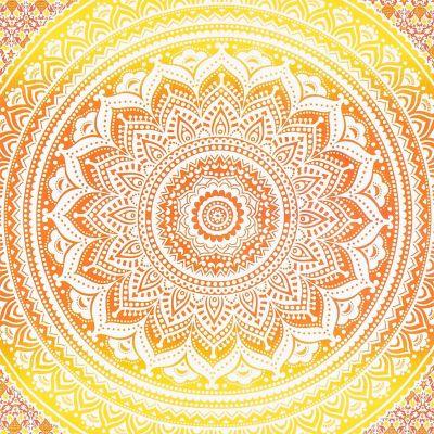 Bavlněný přehoz na postel Mandala – červeno-žlutý India