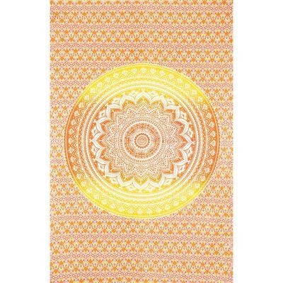 Přehoz Mandala – červeno-žlutý