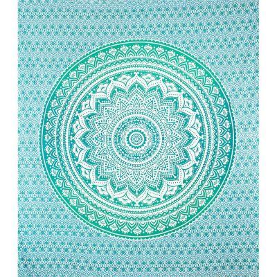 Přehoz Mandala – zeleno-tyrkysový