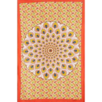 Bavlněný přehoz na postel Paví mandala – červeno-oranžový India