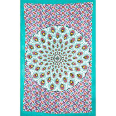 Přehoz Paví mandala – zeleno-fialový