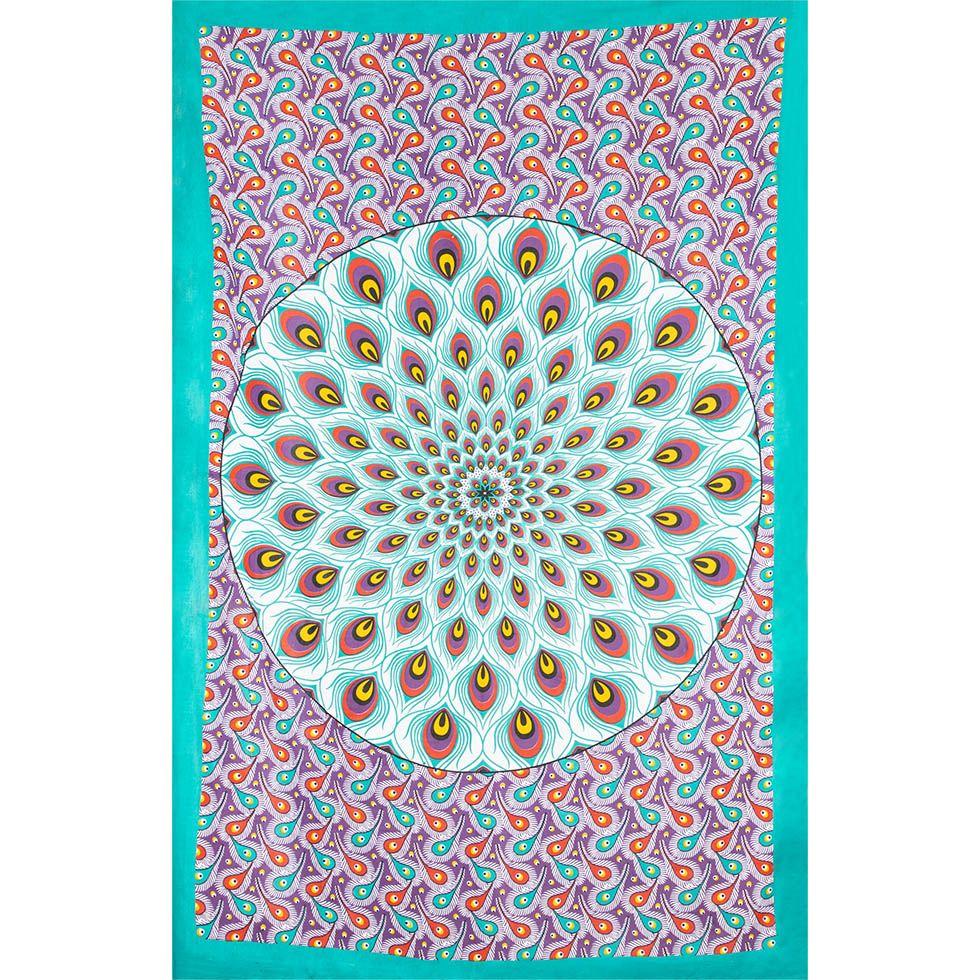 Bavlněný přehoz na postel Paví mandala – zeleno-fialový India