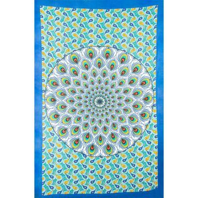 Přehoz Paví mandala – zeleno-modrý